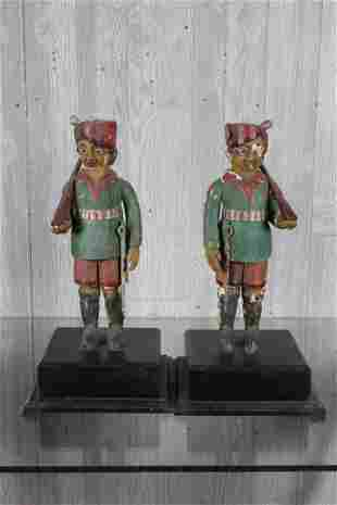 Pair Anglo Indian Carved Wood Sentries