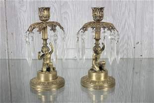 Pr Bronze Putti Form Candlesticks