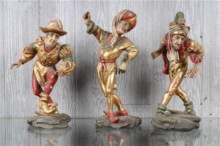 3 Continental Gesso Over Carved Wood Court Jesters