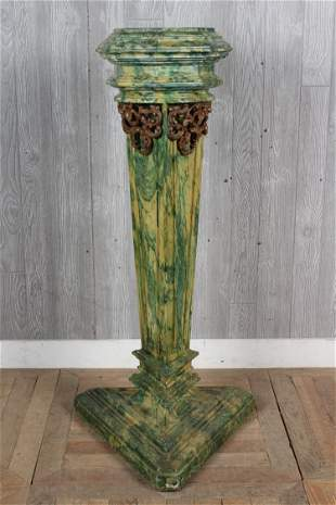 19th C Continental Carved Polychrome Wood Pedestal