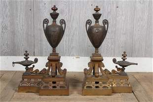 Pair 19th C Empire Style Chenets