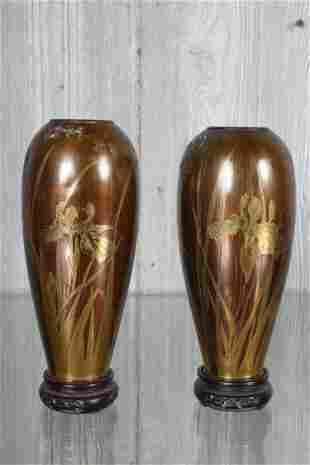 Pair Tiffany Style Bronze Vases
