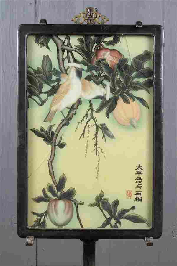 Chinese Reverse Painted Glass Scene