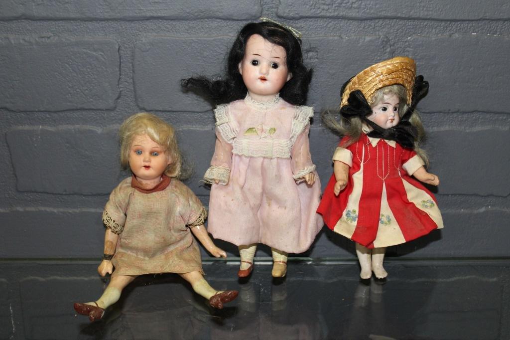 3 Small Bisque Socket Head Dolls