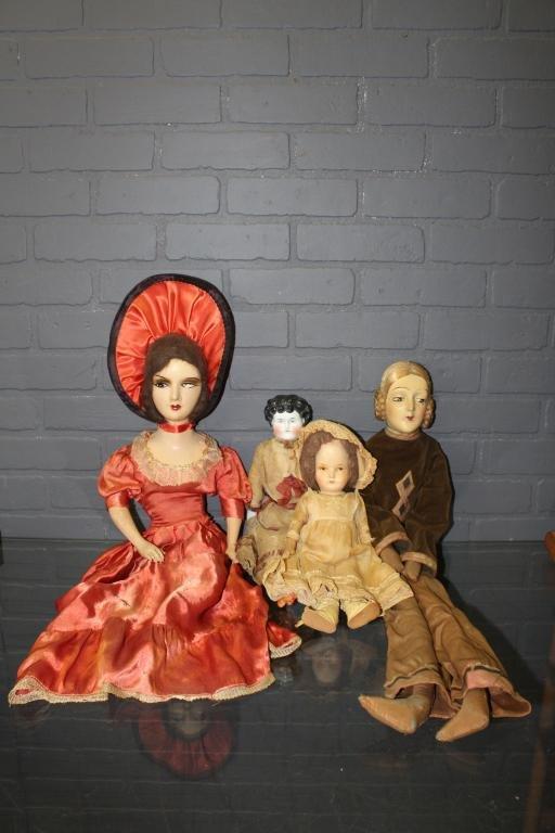 2 Boudoir Dolls, China Head & Papier Mache Doll