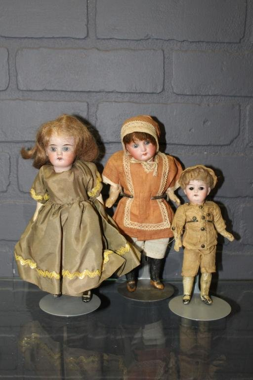 3 Small Bisque and Composition Dolls