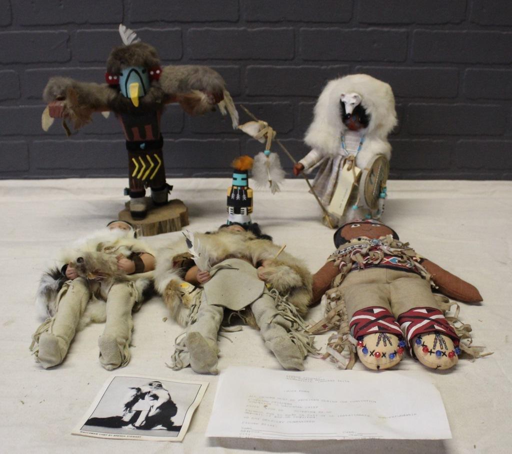 Grouping Native American Kachina and Artist Dolls