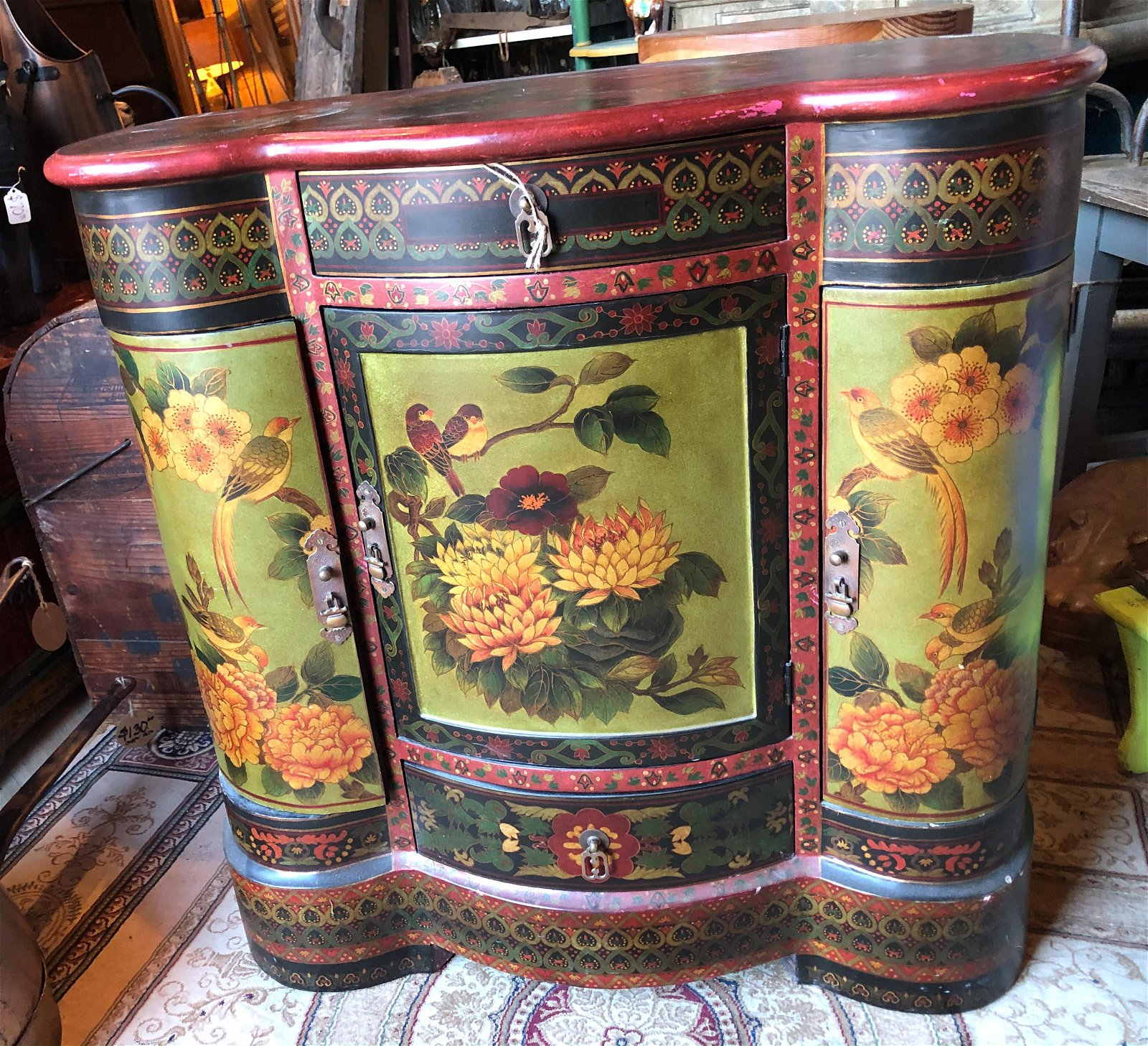 Paint Decorated Side Cabinet