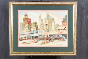 Atlantic City Watercolor Signed C Hutchinson