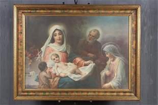 Hans Zatzka Holy Family Chromolithograph
