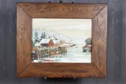20th C Harbor Scene Watercolor
