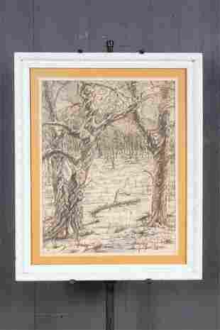 William W Weiss Arboreal Scene Ink Wash