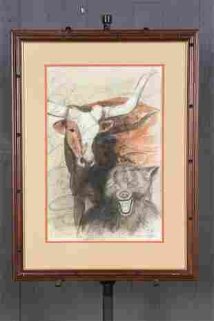 Franklin Kaye Watercolor Longhorn and Wolf