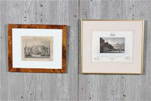 2 Nautical Etchings Tombleson and Bailly