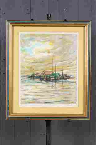 Waters Edge Signed J Brett Lithograph