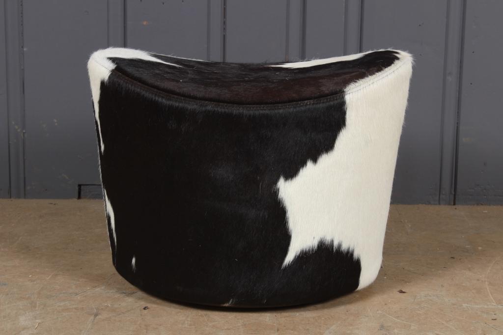 Holstein Cow Hide Footstool