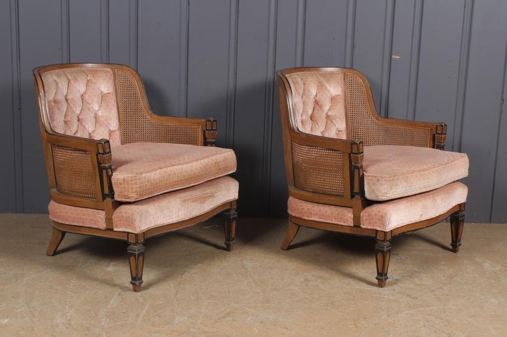 Pair Caned Side Armchairs