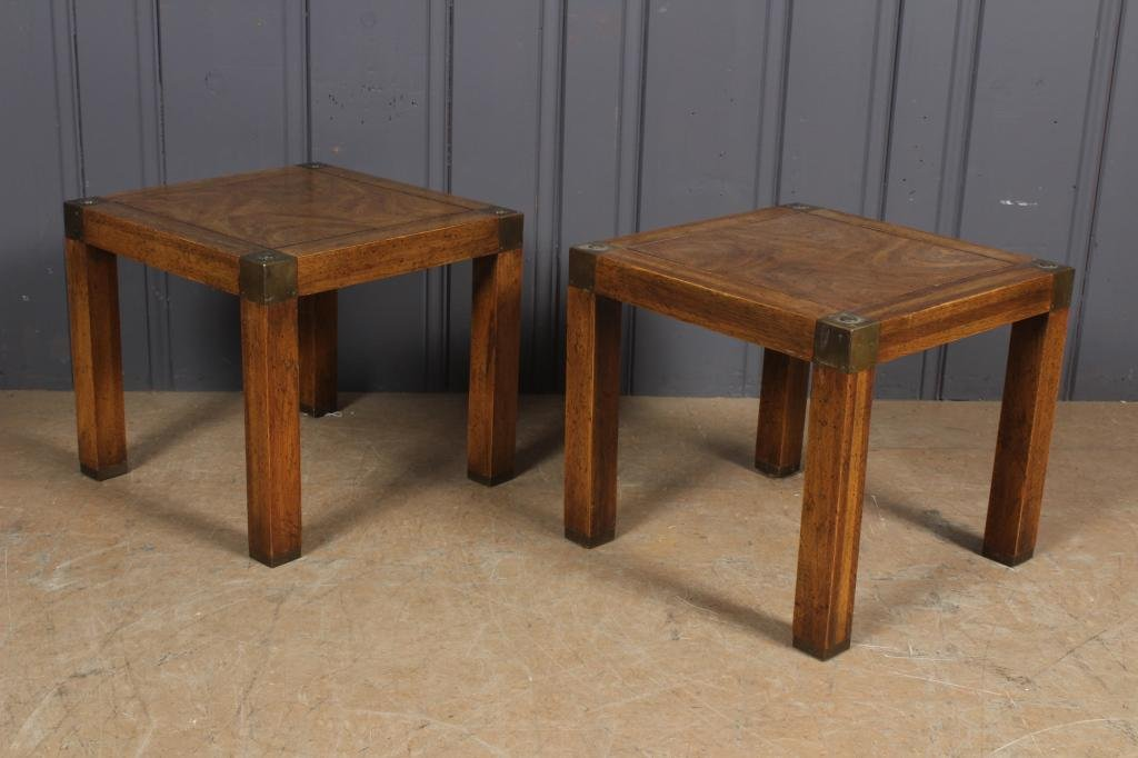 Pair Campaign Style End Tables