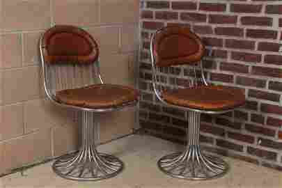 Pair Chrome and Leather Swivel Chairs