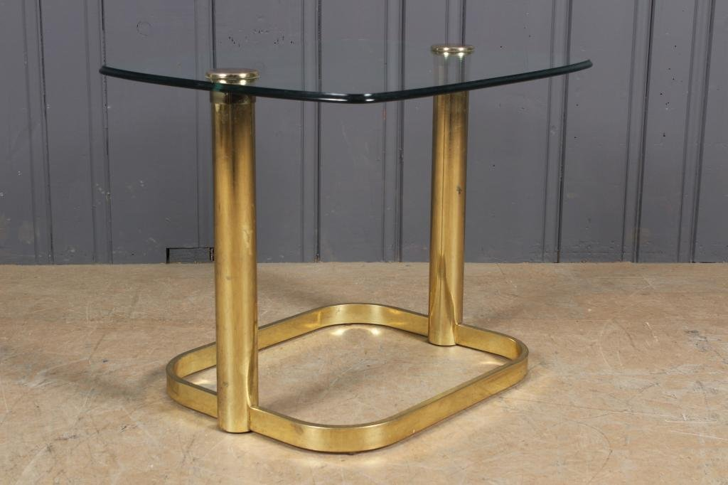 Brass Finish Steel and Glass Side Table