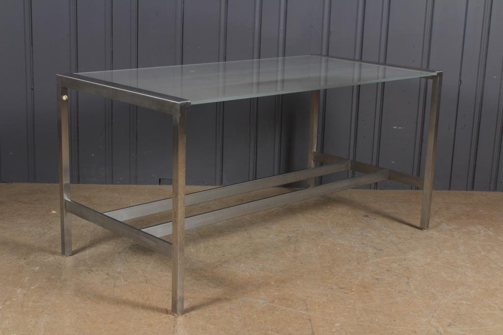 Pace Style Chrome and Frosted Glass Desk