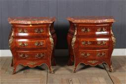 Pair Bronze Mounted Marble Top Bombe Stands