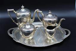 4 PC Sterling Silver Tea Service and Sterling Tray