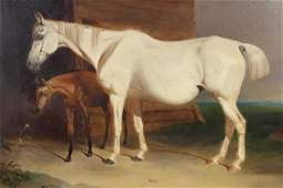 Antique English School Mare and Foal Painting
