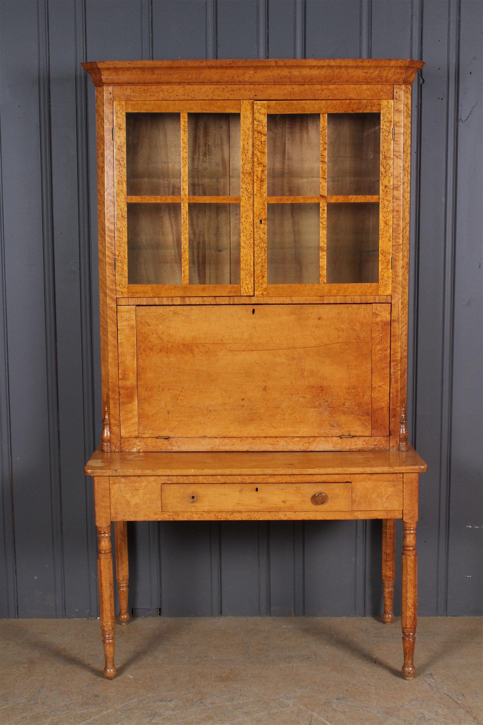 19th C American Birdseye Maple Post Masters Desk