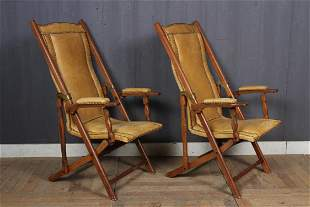 Pair Campaign Style Folding Deck Chairs
