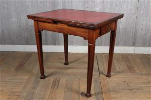 Antique French Leather Top Draw Leaf Table