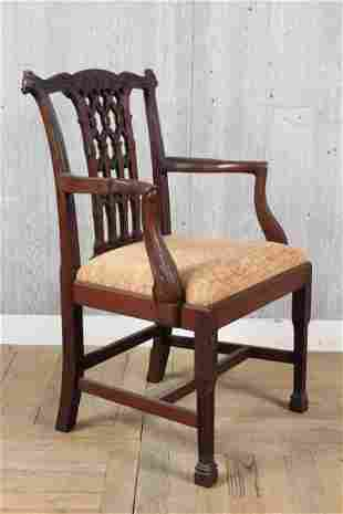 Carved Chippendale Style Armchair