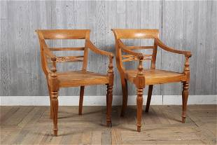 Pair Solid Carved Wood Regency Style Armchairs