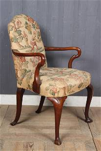 Queen Anne Style Linen Upholstered Armchair
