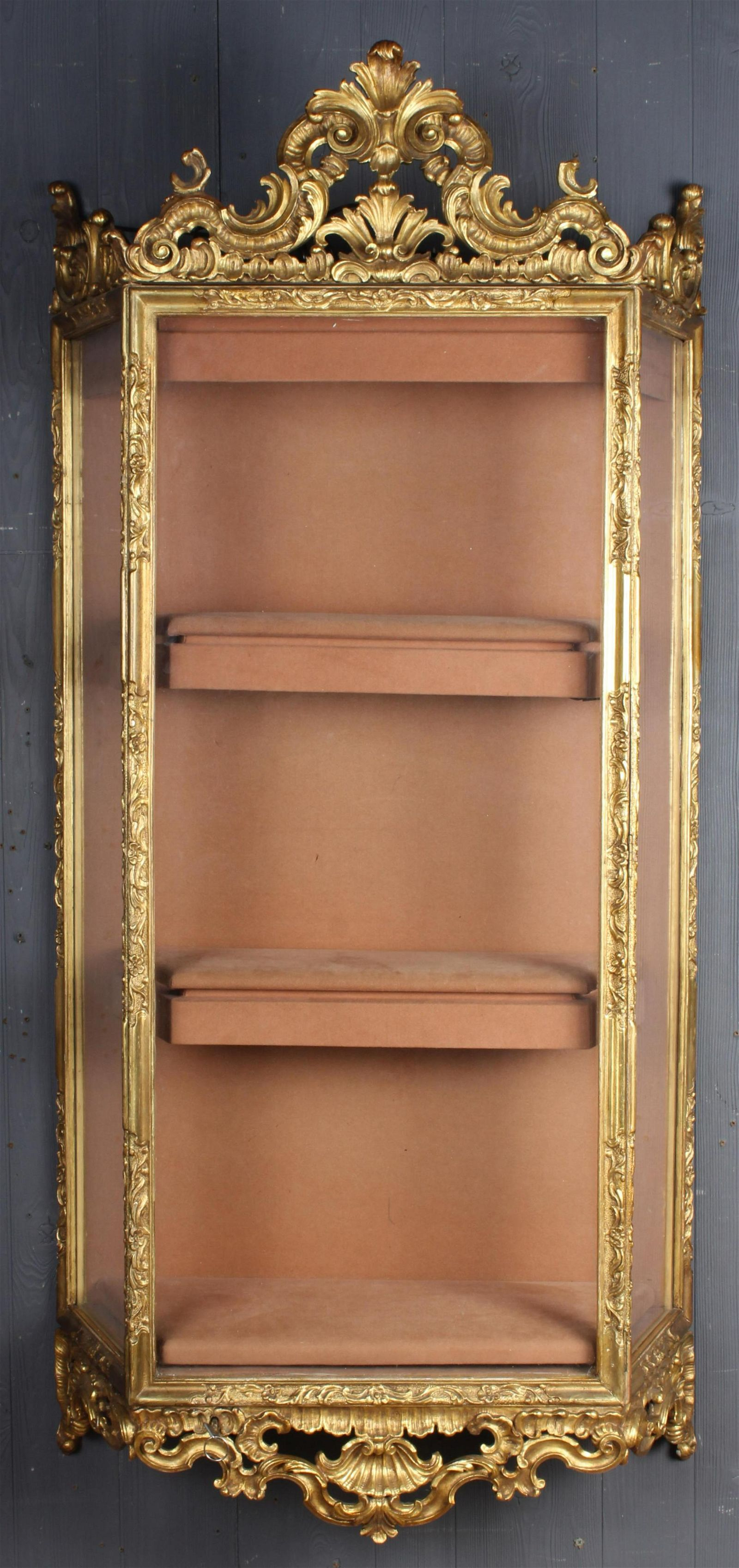 Rococo Style Carved Gilt Wood Wall Hung Vitrine