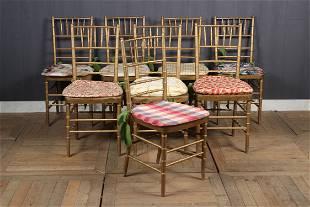 8 Gilt Faux Bamboo Chairs