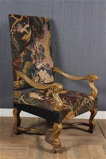 Antique Tapestry Throne Chair