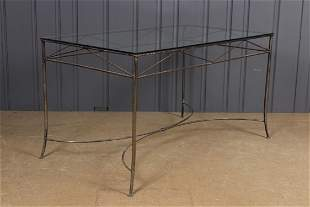 Steel and Glass Top Garden Table