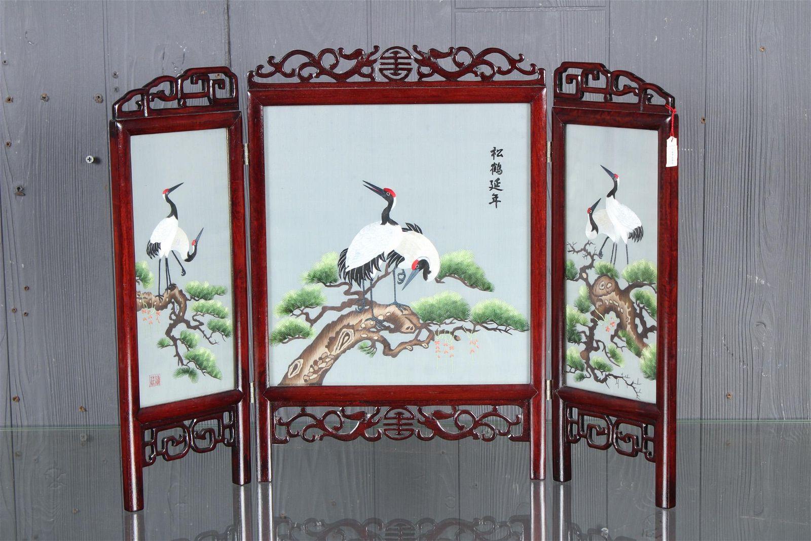 Japanese Tabletop 3-Panel Screen
