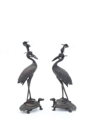 Pair 19th C Japanese Bronze Stilt Birds on Turtles
