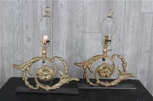 Pair Cast Iron Volute Lamps
