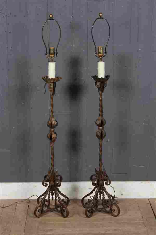 Pair Iron Prickets Cum Lamps