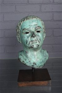 Figural Roman Style Bronze Pompeian Bust