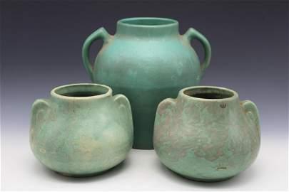 3 Green Art Pottery Vases