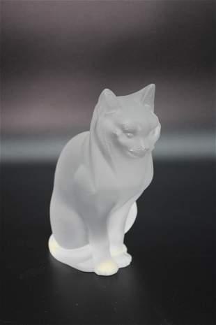 Lalique Crystal Cat Sitting Figurine