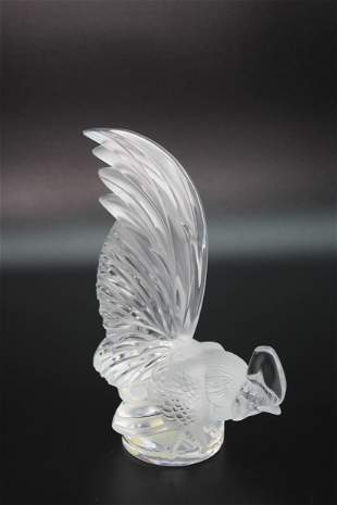 Lalique Crystal Coq Nain Rooster Paperweight