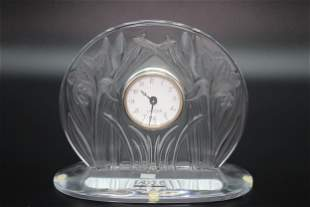 Lalique Crystal Iris Mantel Clock