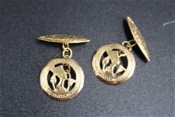 Pair of Egyptian Nefertiti 18k Gold Cuff Links
