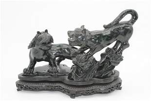 Carved Hardstone Double Lion Figurine on Stand