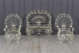 Suite of 3 Child Sized Wirework Armchairs